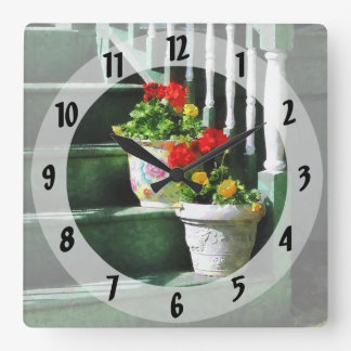 Geraniums and Pansies on Steps Square Wall Clock
