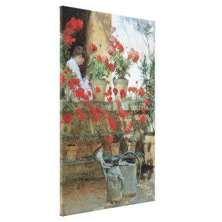 Geraniums by Hassam, Vintage Floral Impressionism Canvas Print