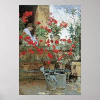 Geraniums by Hassam, Vintage Floral Impressionism Print