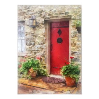"""Geraniums by Red Door 5"""" X 7"""" Invitation Card"""
