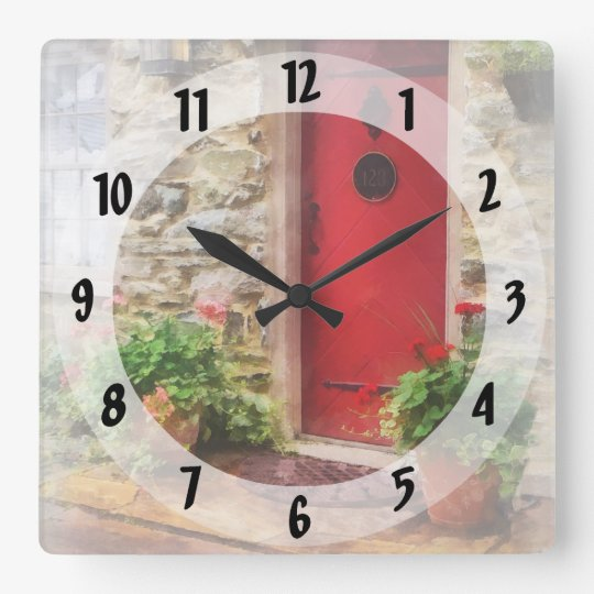 Geraniums by Red Door Square Wall Clock