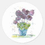 Geraniums Classic Round Sticker