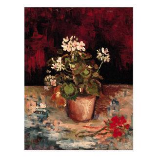 Geraniums in a Flowerpot, Van Gogh Fine Art Postcard