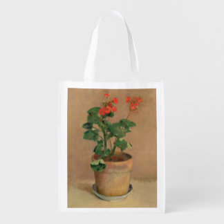 Geraniums in a Pot, c.1905 (oil on canvas) Reusable Grocery Bag
