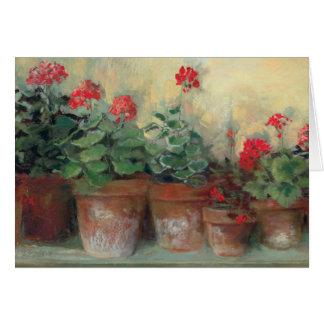 Geraniums in Pots Card