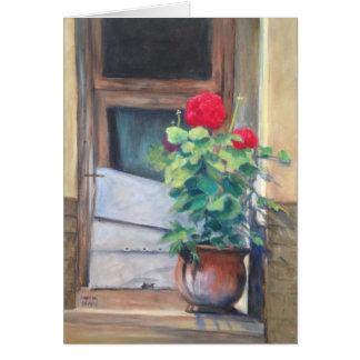 """Geraniums on the Steps"" Card"