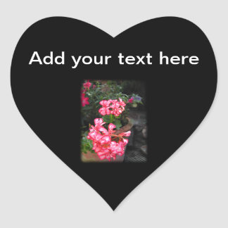 Geraniums. Pelargonium flowers. Heart Sticker