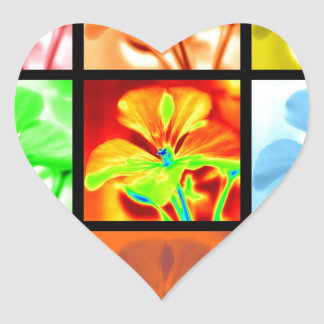 Geraniums Squared Heart Sticker