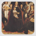 Gerard David- Madonna with Angels and Saints Square Sticker
