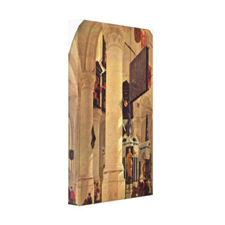 Gerard Houckgeest - The tomb of Willem I Stretched Canvas Print