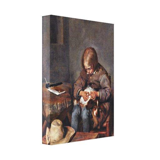Gerard ter Borch the Younger - floht boy his dog Canvas Print