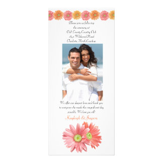 Gerber Daisy Add Your Photo Wedding Program Personalized Rack Card
