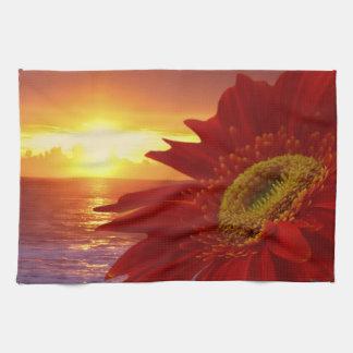 Gerber Daisy and sunset Hand Towel