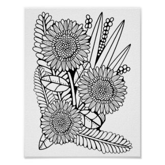 Gerber Daisy Cardstock Adult Coloring Page Poster