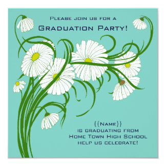 Gerber Daisy Flowers w Turquoise Graduation Party Card