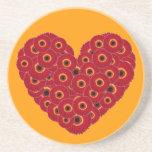 Gerber Daisy Heart Beverage Coaster