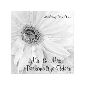 Gerber Daisy In Black and White Personalized Stretched Canvas Print