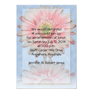 Gerber Daisy in Pink on Dana Blue background Custom Announcements