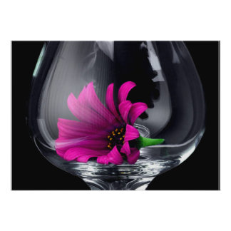 Gerber Daisy in Wine Glass POSTER or CARD