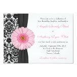 Gerber Daisy Pale Pink Black White Damask Wedding Card