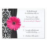 Gerber Daisy Pink Black Damask Wedding RSVP Reply Invitation