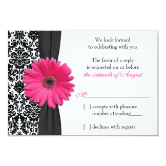 Gerber Daisy Pink Black Damask Wedding RSVP Reply 3.5x5 Paper Invitation Card