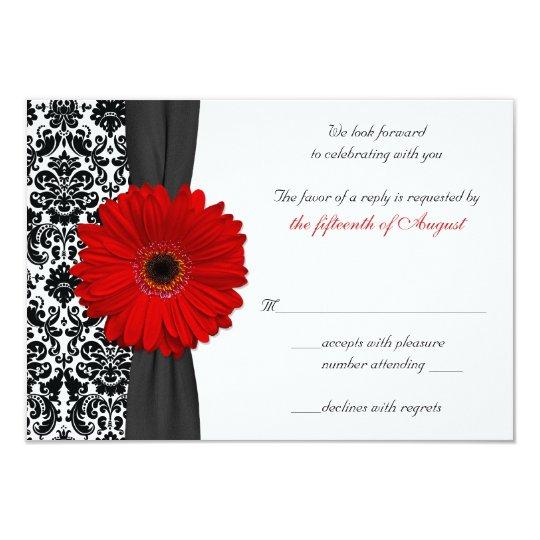 Gerber Daisy Red Black Damask Wedding Reply Card