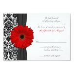 "Gerber Daisy Red Black Damask Wedding Reply Card 3.5"" X 5"" Invitation Card"