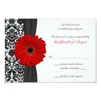 Gerber Daisy Red Black Damask Wedding Reply Card