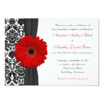 Gerber Daisy Red Black White Damask Wedding 5x7 Paper Invitation Card
