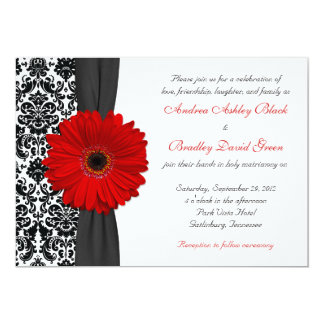 Gerber Daisy Red Black White Damask Wedding Card
