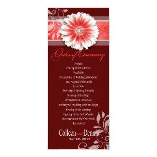 Gerber Daisy Scroll 1 Wedding Program red Card