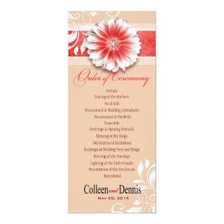 Gerber Daisy Scroll 1 Wedding Program red sand