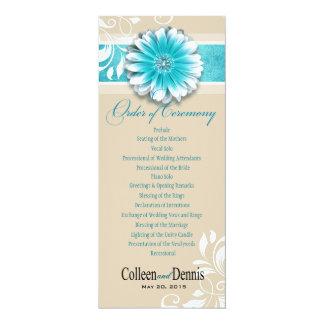 Gerber Daisy Scroll 1 Wedding Program teal