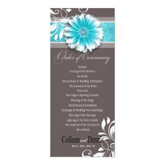 Gerber Daisy Scroll 1 Wedding Program teal Card