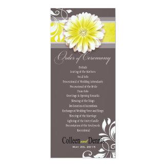 Gerber Daisy Scroll 1 Wedding Program yellow Card
