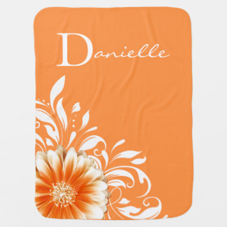 Gerber Daisy Scroll Monogram | orange sherbet Swaddle Blankets