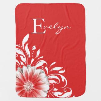 Gerber Daisy Scroll Monogram | soft red Baby Blankets