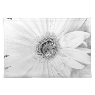 Gerber Daisy Up Close In Black and White Placemat