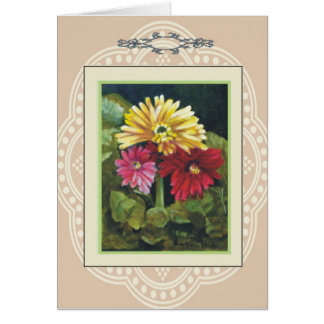gerber Daisys, antique series Greeting Card