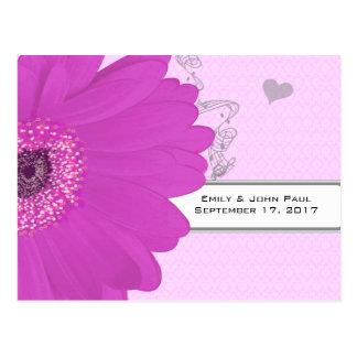 Gerber Fuchsia & Gray Paisley Save The Date Postcard