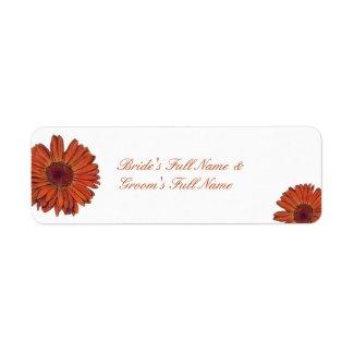Gerbera Bride-Groom Name Label