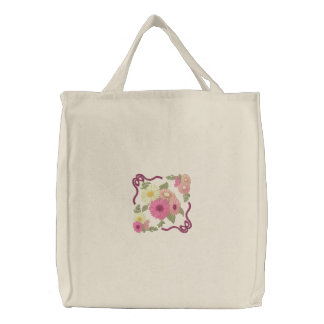 Gerbera Daisies Embroidered Tote Bag
