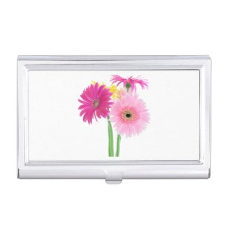 Pink Daisy Business Card Case