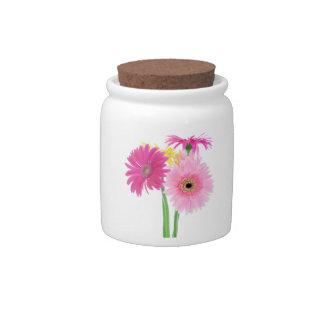 Gerbera Daisies Pink Candy Jar