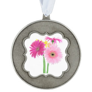 Gerbera Daisies Pink Scalloped Pewter Christmas Ornament