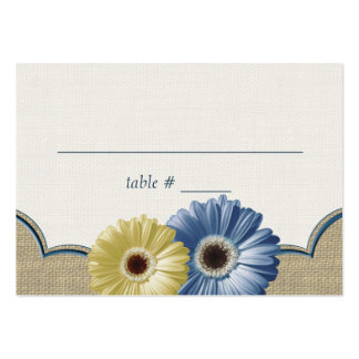 Gerbera Daisy and Burlap Blue and Yellow Seating Large Business Card