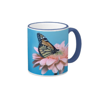 Gerbera Daisy and Butterfly Ringer Mug