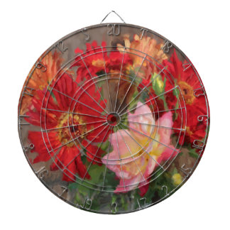 gerbera daisy and rose bouquet  oil painting dartboard with darts