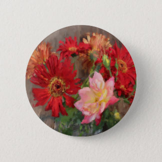 gerbera daisy and rose bouquet  oil painting pinback button